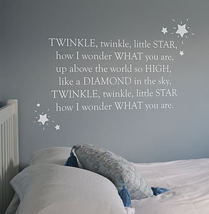'Twinkle Twinkle' Nursery Rhyme Wall Sticker - baby's room