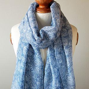Blue Paisley Print Scarf