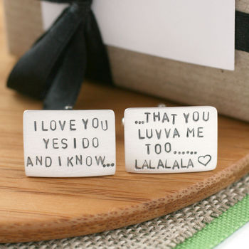 Personalised Silver Song Lyric Cufflinks