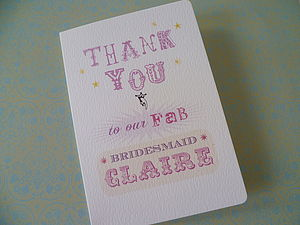 Personalised Bridesmaid Thank You Card - wedding cards