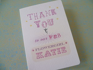 Personalised Flowergirl Thank You Card - wedding cards