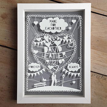 Personalised Anniversary Love Papercut