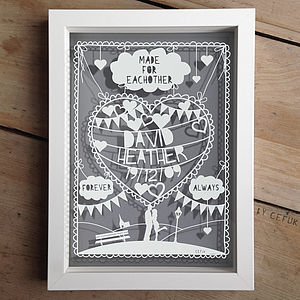 Personalised Anniversary Love Papercut - prints & art sale