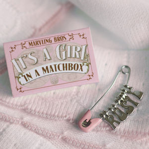 Personalised Nappy Pin Keepsake For Baby Girl