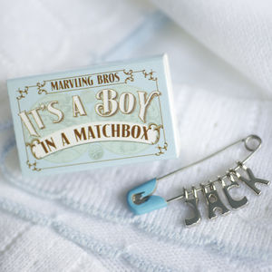 Personalised Nappy Pin Keepsake For Baby Boy
