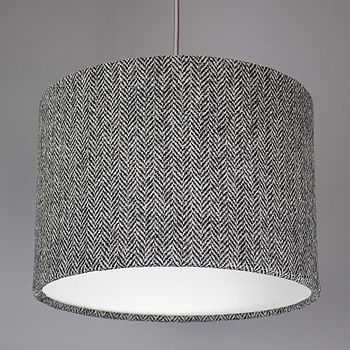 Grey Herringbone Harris Tweed Lampshade