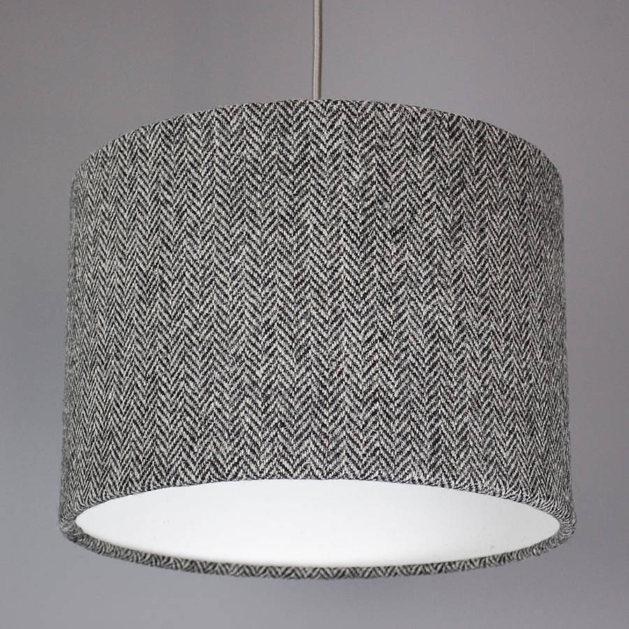 Dark grey herringbone harris tweed lampshade by quirk dark grey herringbone harris tweed lampshade aloadofball