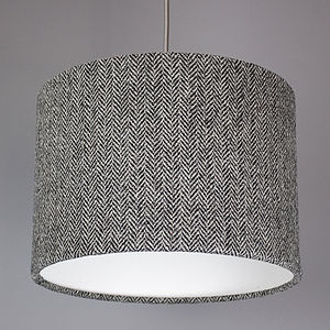 Grey Herringbone Harris Tweed Lampshade - bedroom