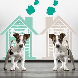 Personalised Twin Dog House Wall Stickers