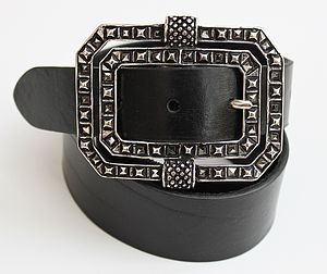 Women's Black Leather Belt With Marcasite Style Buckle