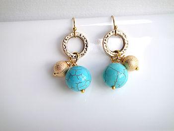 Gold Semi Precious Beaded Earrings