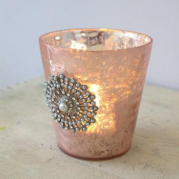 Diamante Rose Mercury Tealight Holder