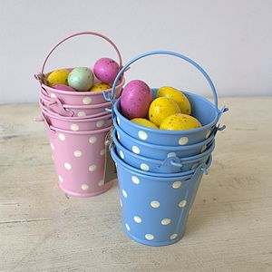 Set Of Three Mini Blue Buckets - decoration