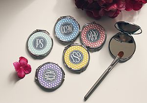 Personalised Compact Mirror Polka Dots