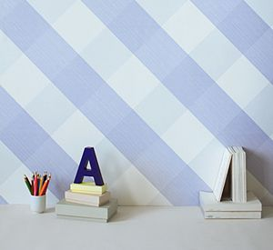 Gingham Wallpaper Sample - children's room