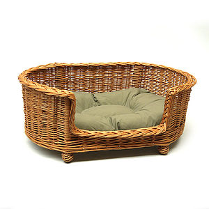 Luxury Wicker Pet Bed Basket Settee - dogs