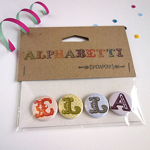 Alphabet Name Badges - party styling