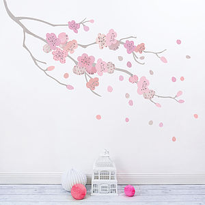 Children's Cherry Blossom Branch Fabric Wall Sticker - wall stickers