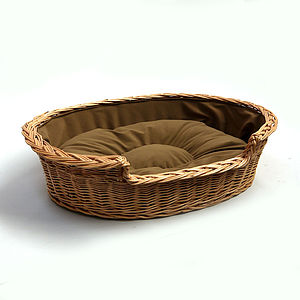 Wicker Cushioned Cat Or Dog Basket - cats