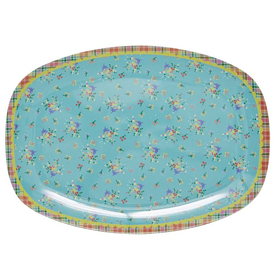 Aqua Vintage Flower Melamine Plate  sc 1 st  Notonthehighstreet.com & aqua vintage flower melamine plate by frolic and cheer ...