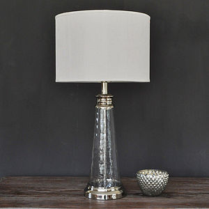 Small Textured Glass Lamp With Linen Shade - table & floor lamps