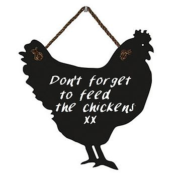 Large Chicken Chalkboard With Rope Hanger
