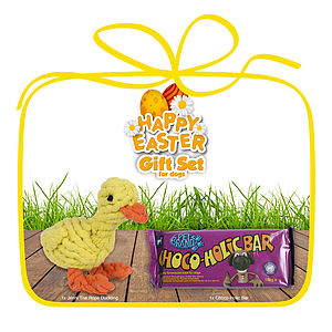 Easter Duckling Dog Toy And Choco Bar Set - treats & food