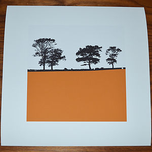 Landscape Print Square Orange - posters & prints