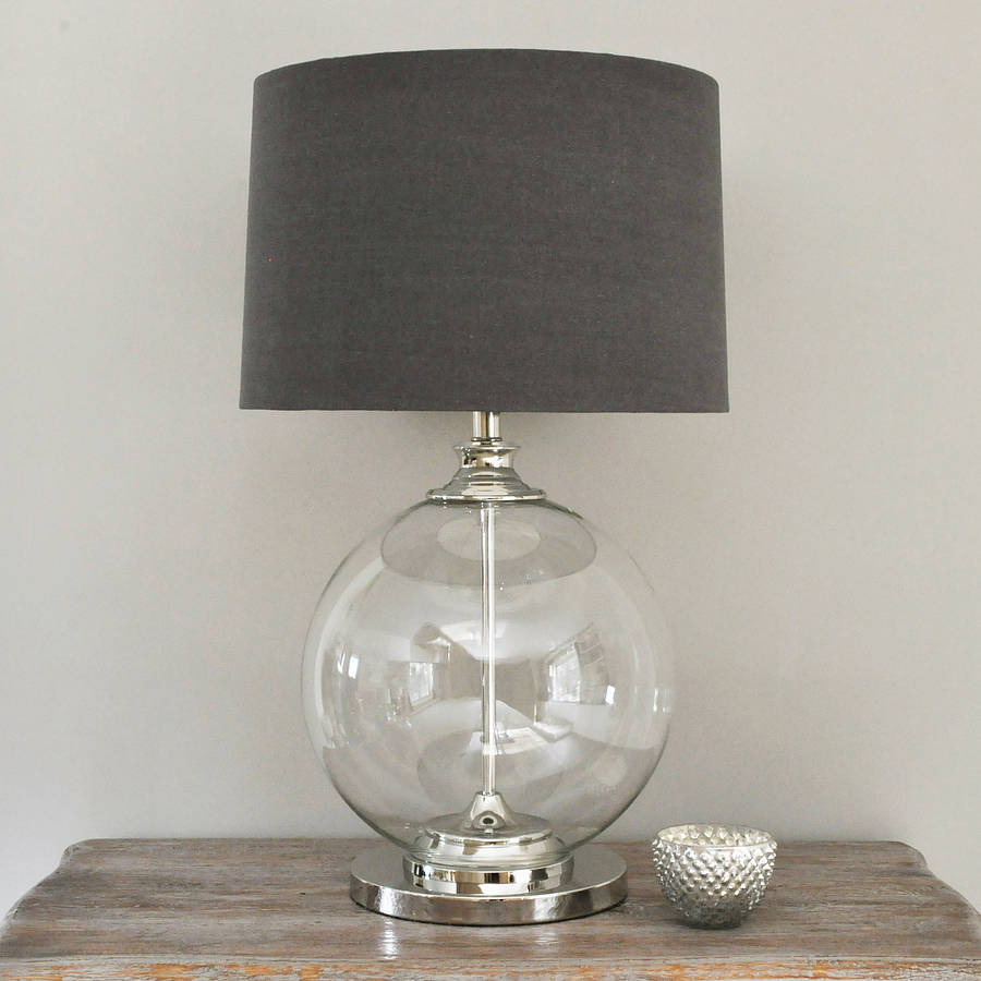 glass ball table lamp and grey shade by primrose plum. Black Bedroom Furniture Sets. Home Design Ideas