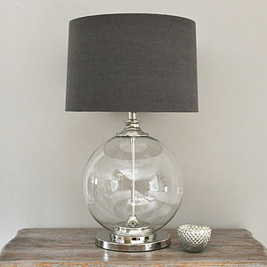 Glass Ball Table Lamp And Grey Shade - bedside lamps