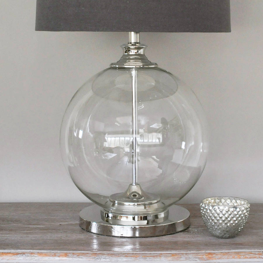 Glass ball table lamp and grey shade by primrose plum glass ball table lamp and grey shade mozeypictures Gallery