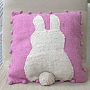 Pink Easter Bunny Bobble Cushion