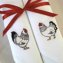 Mr And Mrs Chicken Embroidered Napkins
