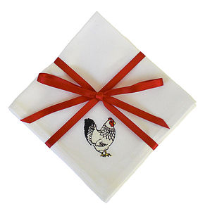 Embroidered Chicken Cocktail Napkins