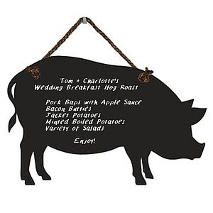 Large Pig Chalkboard With Rope Hanger