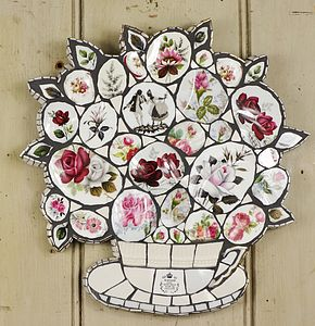 Red Roses Crockery Mosaic Wall Art - mixed media & collage