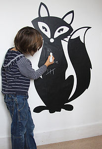 Fox Blackboard Sticker - wall stickers