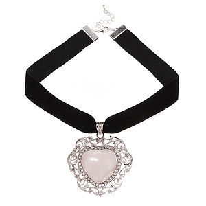Aurora Rose Quartz Heart Velvet Choker - necklaces & pendants