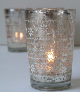 Two Antiqued Silver Glass Tea Light Holders