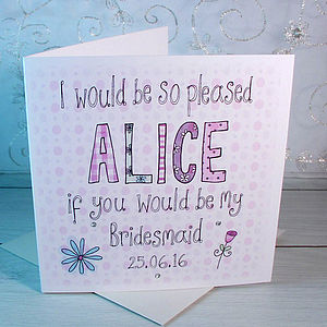 Personalised Will You Be My Bridesmaid Card - invitations