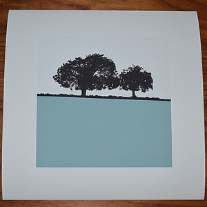 Landscape Print Square Light Blue
