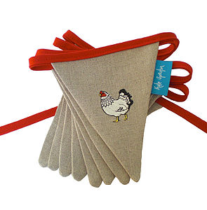 Embroidered Mr And Mrs Chicken Bunting - bunting & garlands