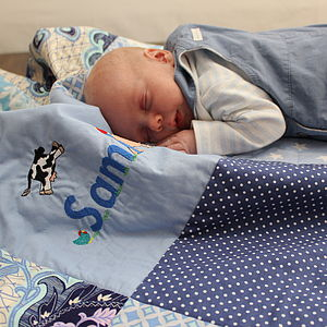 Personalised Baby Quilt Blanket Farm Design - sleeping