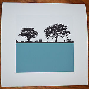 Landscape Tree Print Square Petrol Blue - nature & landscape