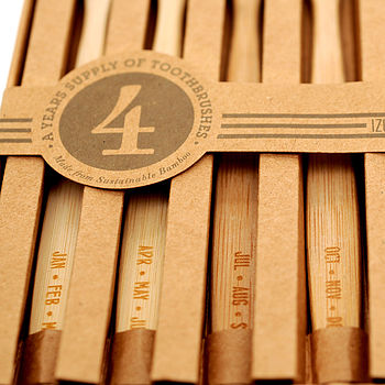 'Months' Themed Bamboo Toothbrushes Set Of Four