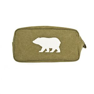 Large Green Canvas Wash Bag