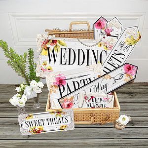 Set Of Eleven True Romance Wedding Signs - room signs