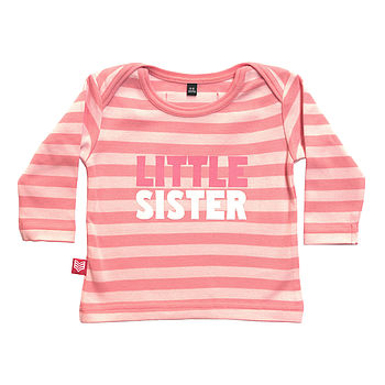 Pink Striped Little Sister T Shirt