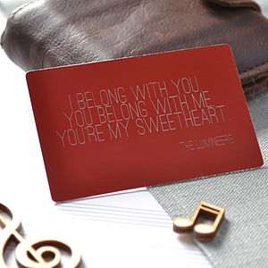 Personalised Song Lyrics Wallet Card - our songs