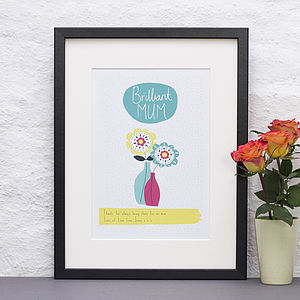 Personalised 'Brilliant Mum' Print
